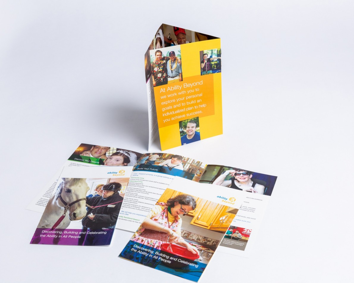 In conjunction with the website redesign, all of AB's marketing collateral needed an overhaul to sync their image across various media, from digital to print. This brochure covers AB's work in the New York/Connecticut area and features colorful, action-oriented photographs that convey the dynamic mission of the organization.