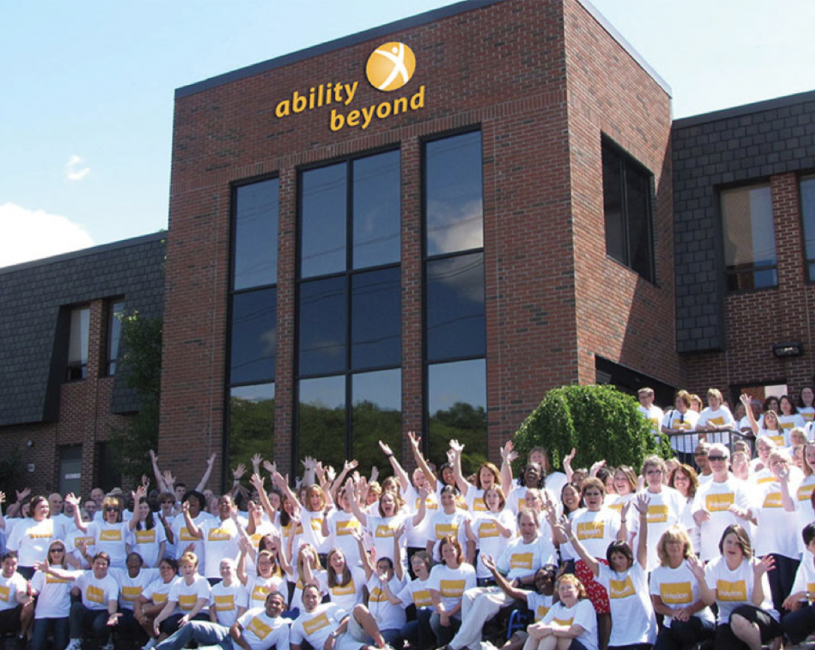 Ability Beyond is a visible and active part of the community, and their signage needs to be public-facing. We also designed all exterior and interior signage for their office – this team reaction says it all!