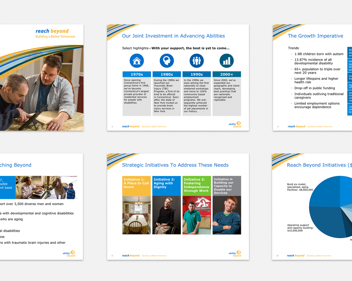 When presenting to potential fundraising partners or fellow non-profit organizations, AB gives a comprehensive look at what they are capable of as they seek to improve lives. We designed charts, graphs, and infographics for these presentations to communicate their vision in a cohesive, professional way.