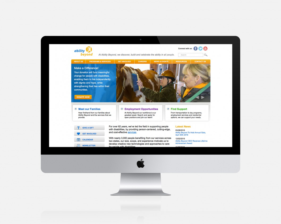 AB's website underwent a full redesign to create an intuitive user experience. By clearly presenting information in easy-to-navigate tabs, the organization's resources are displayed in an eye-catching, effective manner.