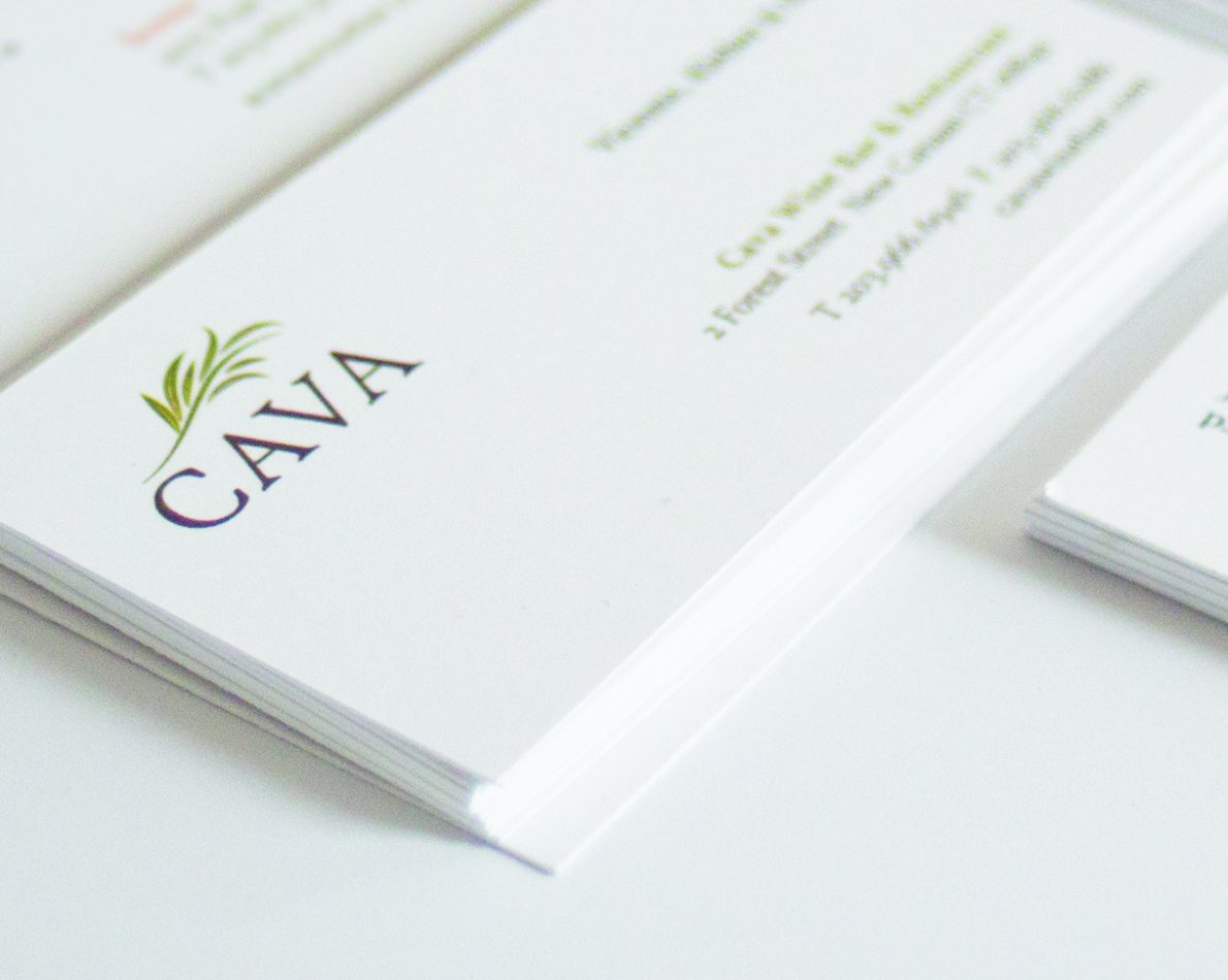 Cava's refined logo and business card offers a clean mark.