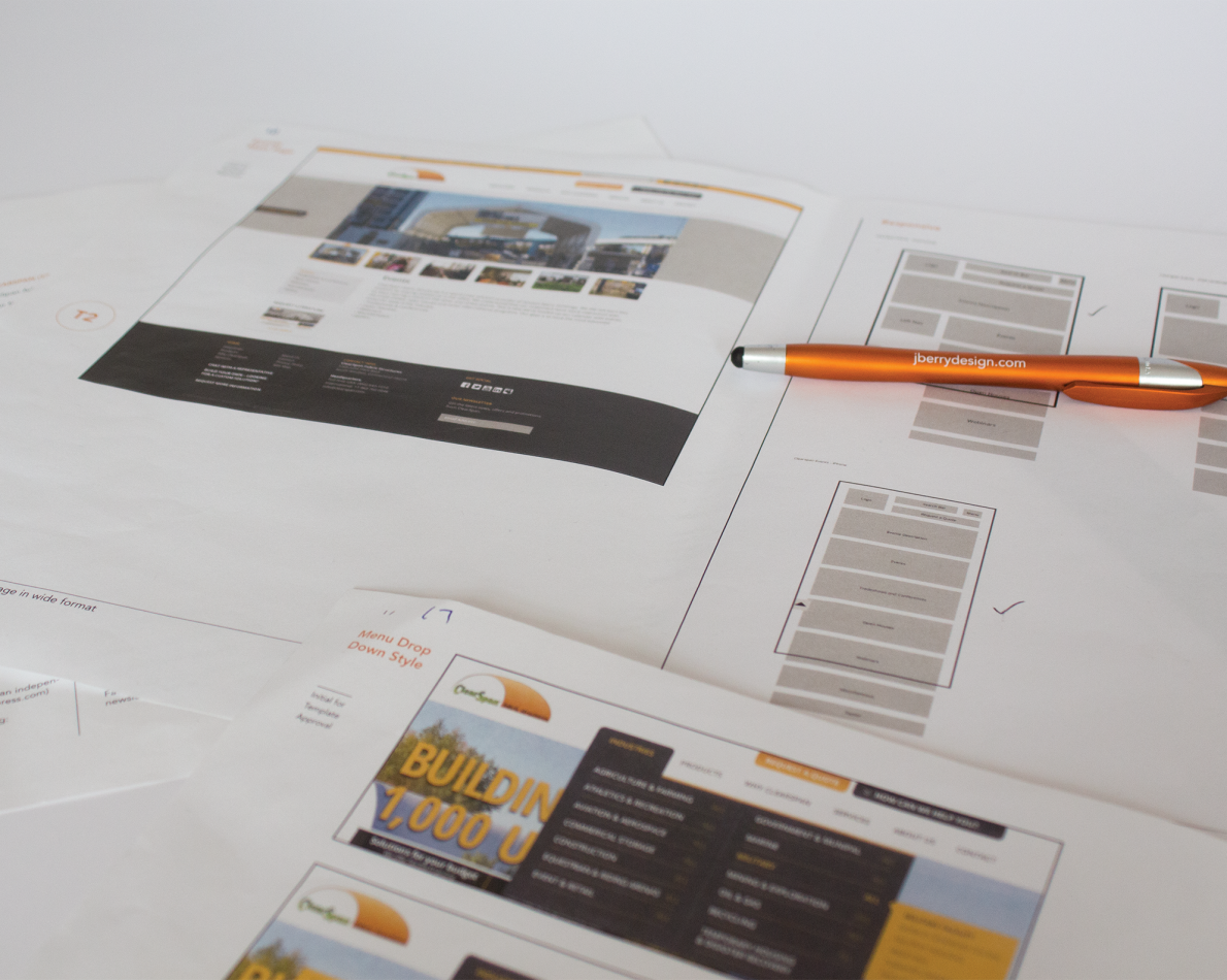 Sketches mocking up responsive layout compared to the desktop view.