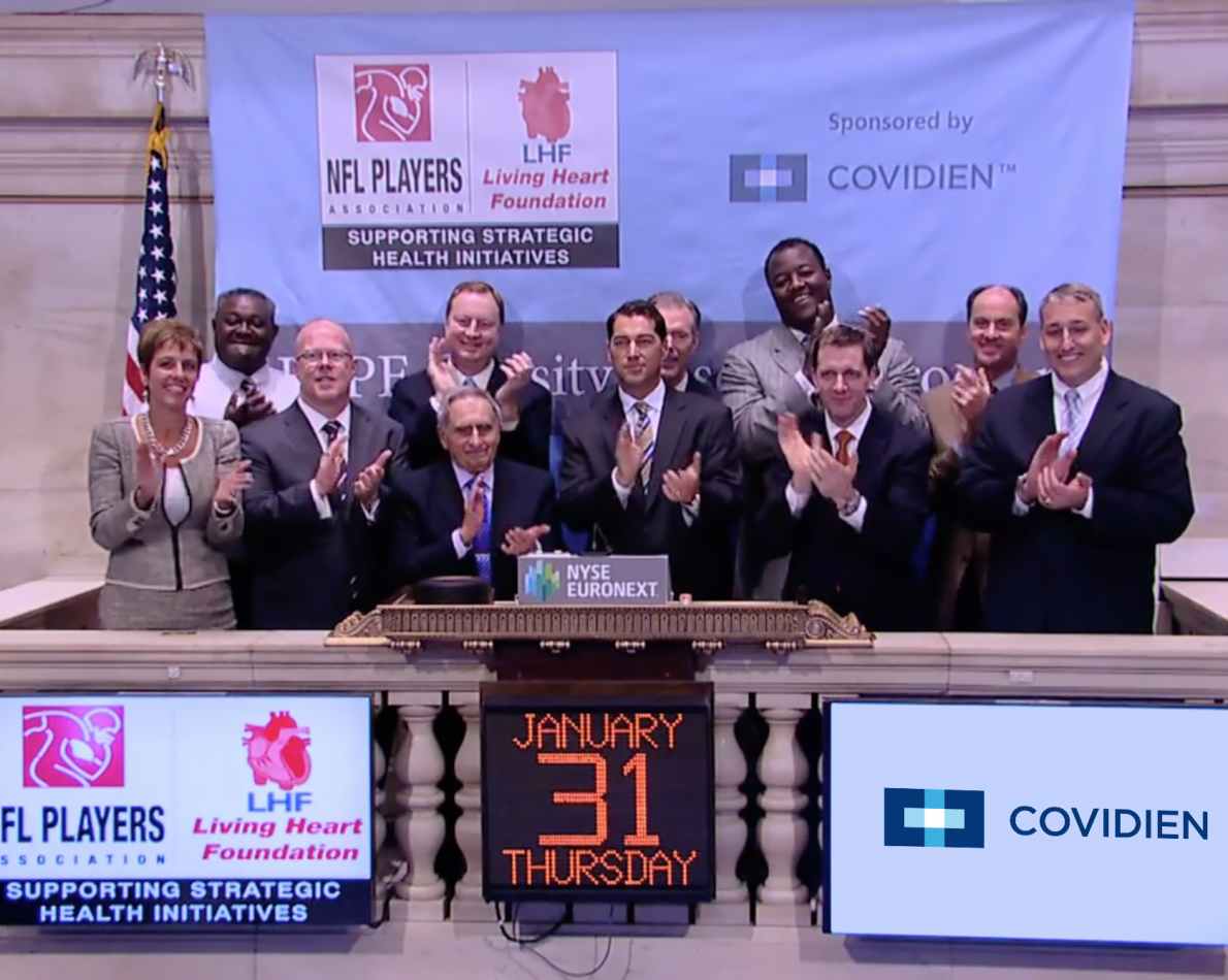 """This partnership also featured the NFL HOPE Program, which gained valuable exposure at a special New York Stock Exchange event alongside executives from Covidien as it launched this healthcare initiative with The Living Heart Foundation. The program was entitled """"HOPE"""" (Heart, Obesity, Prevention & Education) as it supported healthy lifestyles and a focus on wellness for former NFL players."""