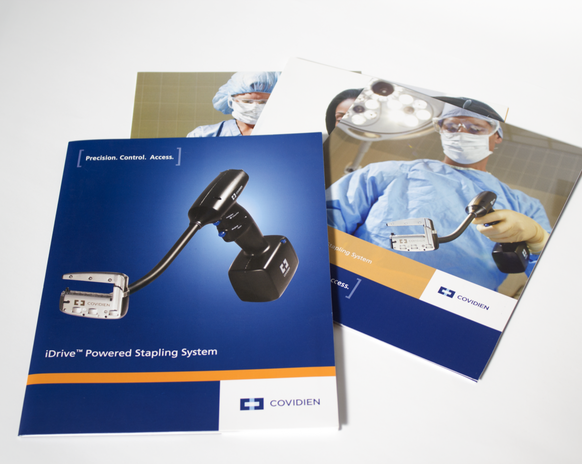 The iDrive product is a groundbreaking, battery-operated, reusable endoscopic stapler. The brochures and other marketing collateral we were tasked with creating needed to support Covidien and this product in several business areas across three primary roles within a hospital setting – surgeons, nurses, and purchasing managers. Communicating the iDrive's surgical features while making it attractive to purchasers required audience-specific brochures, which we designed using tailored photos and language for each targeted role.