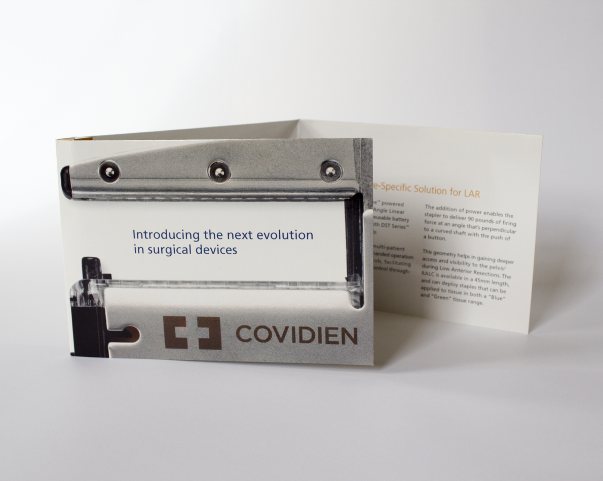 We took a multimedia approach to telling the iDrive's story throughout the marketing collateral, which encompassed not only the brochures, but designed and branded pocketed folders for swapping out the appropriate information. A clever and convenient audio card was instrumental in telling busy hospital teams about Covidien's innovative product, which promises faster recovery time for patients in addition to the benefits provided to users – surgeons and OR staff. Presenting the iDrive as a win/win for staff, doctors, and patients alike was our primary goal, one that we met and exceeded due to our experience in branding strategy.