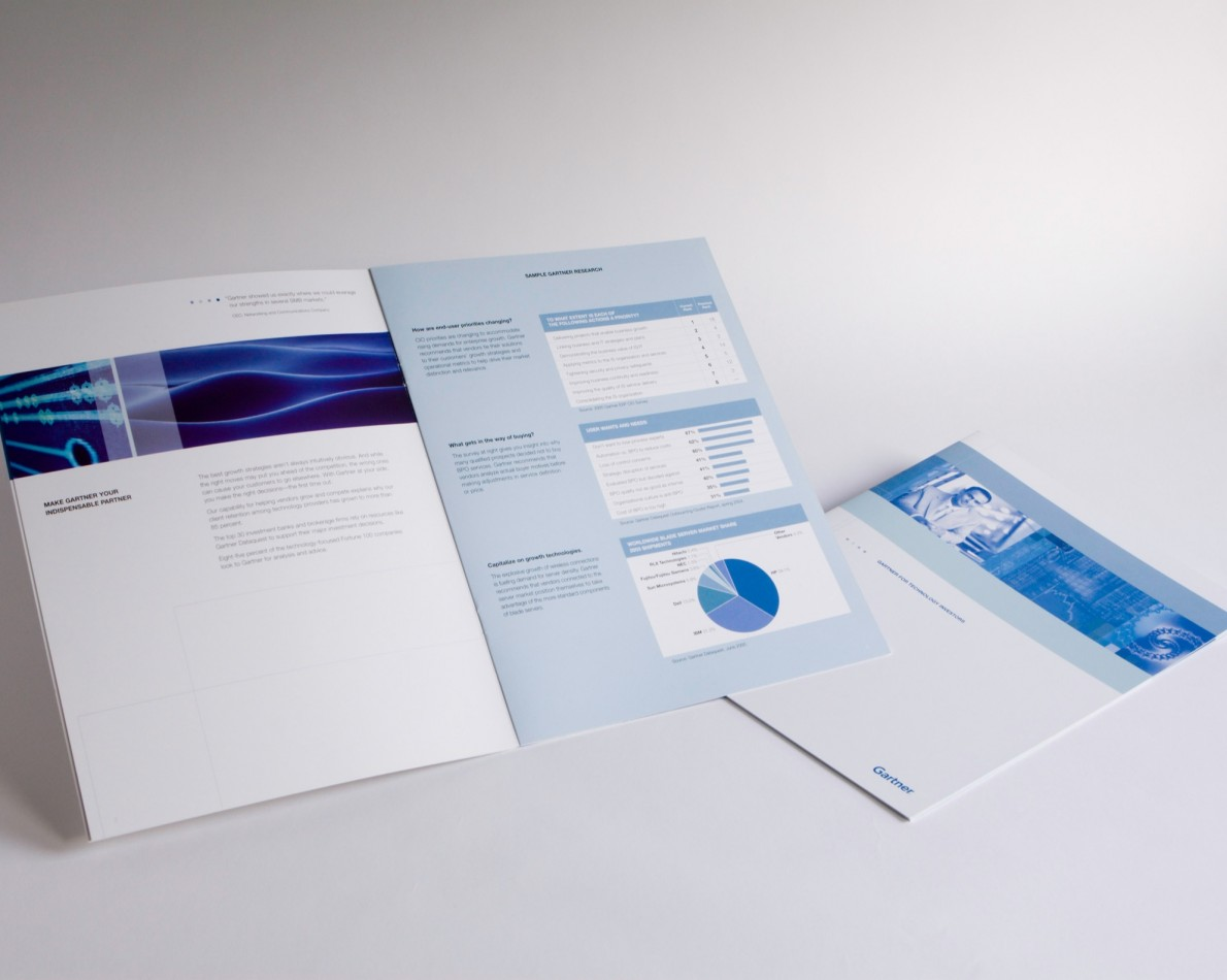 Audience-segmented brochures with new brand assets.