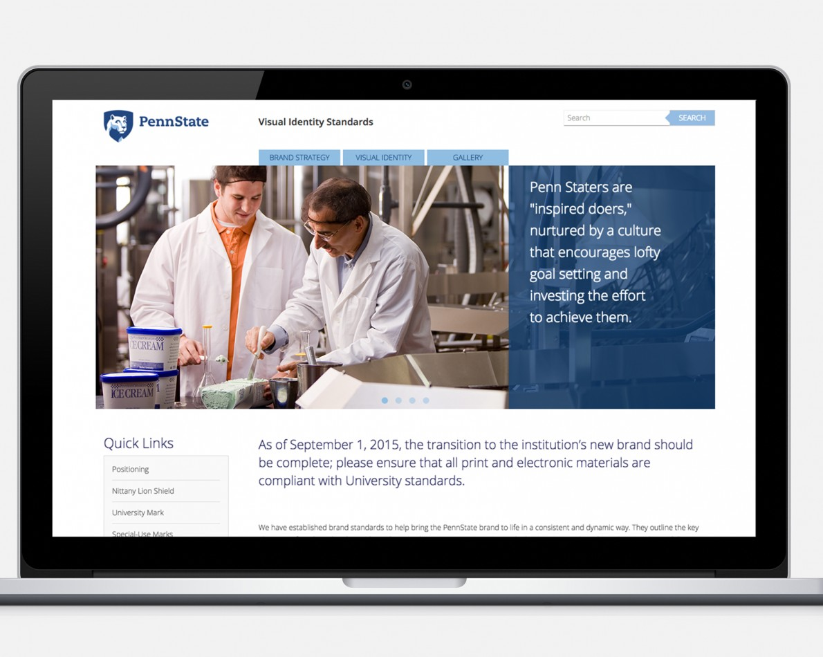 Bringing the new Penn State identity to life with a user-friendly, easy-to-navigate site demonstrating proper Brand Asset usage