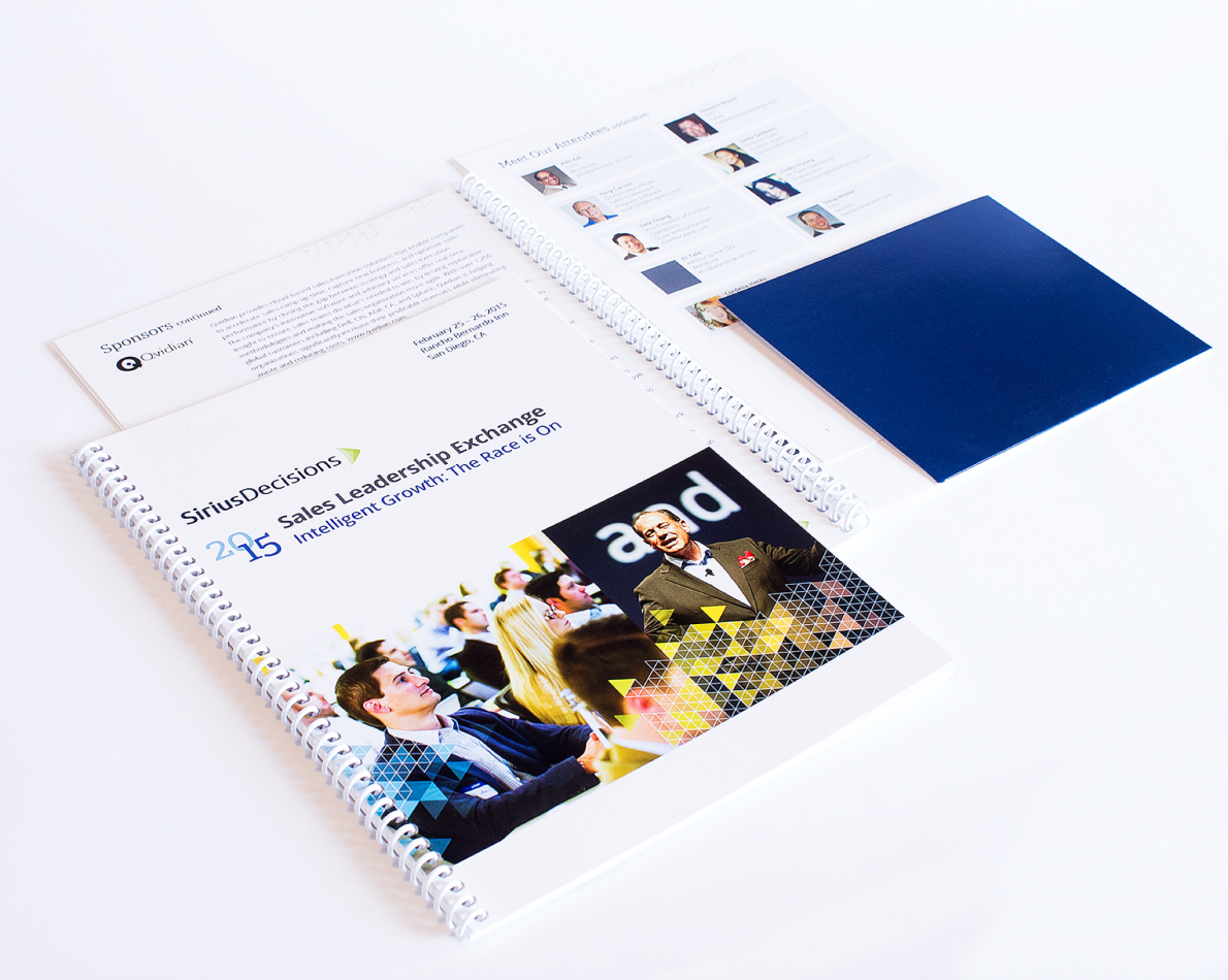 The SLE brochure – the Sales Leadership Exchange – also adhered to the new brand guidelines of color, graphics and typography.