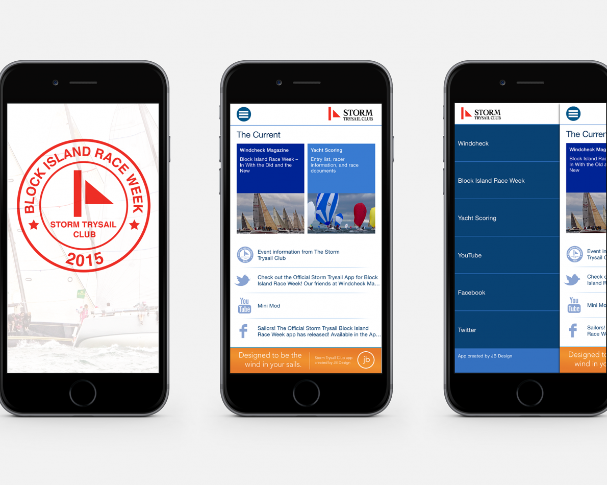 The inaugural app design for the 2015 Block Island Race Week.
