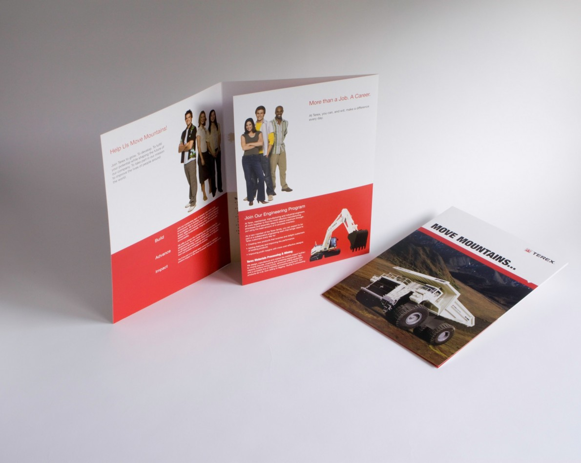 Terex is always growing and expanding, bringing in new talent to keep business going strong. We designed this brochure to attract attention at career fairs and recruitment events.