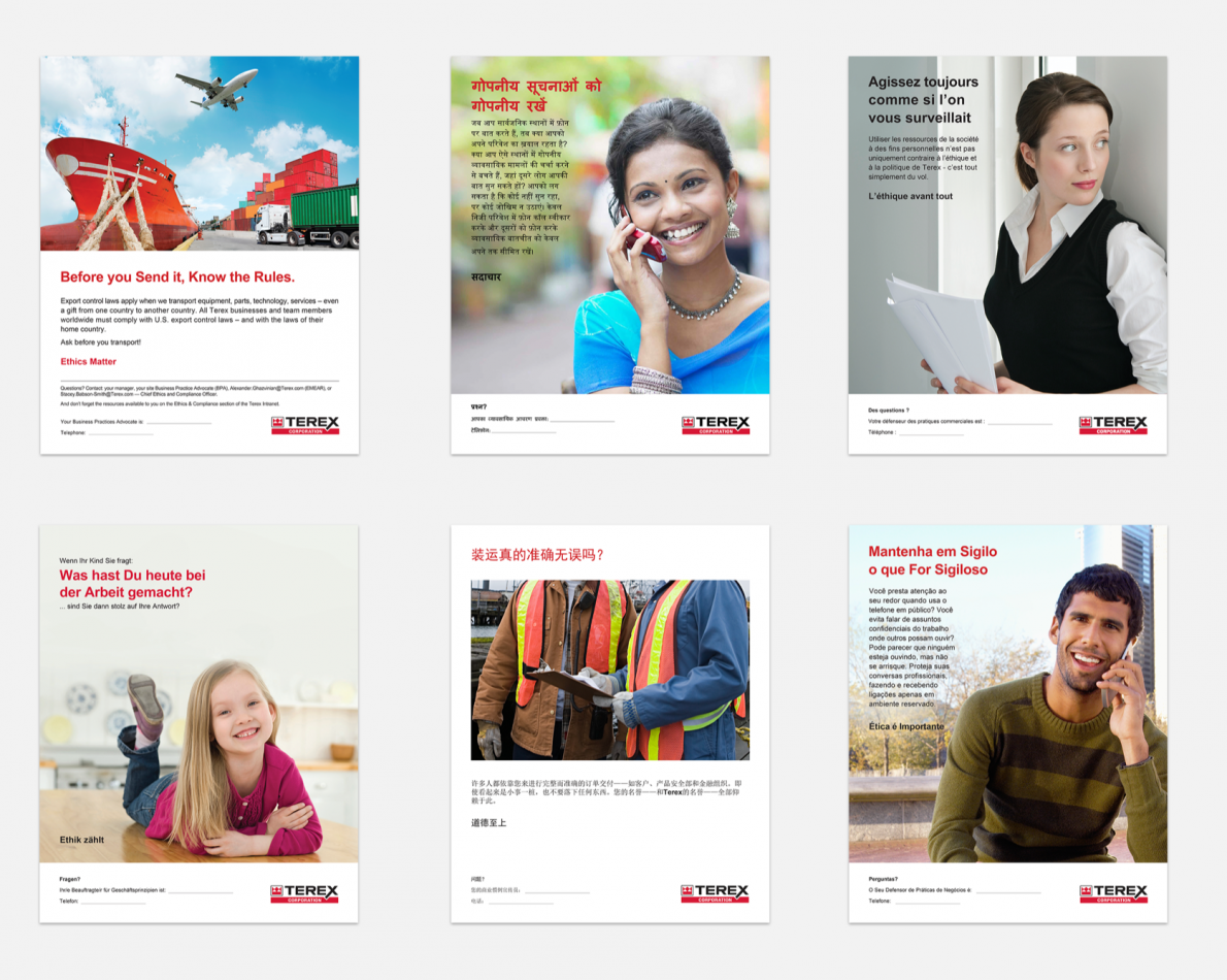 Multi-national Ethics Posters for global distribution and on-site use – important reminders