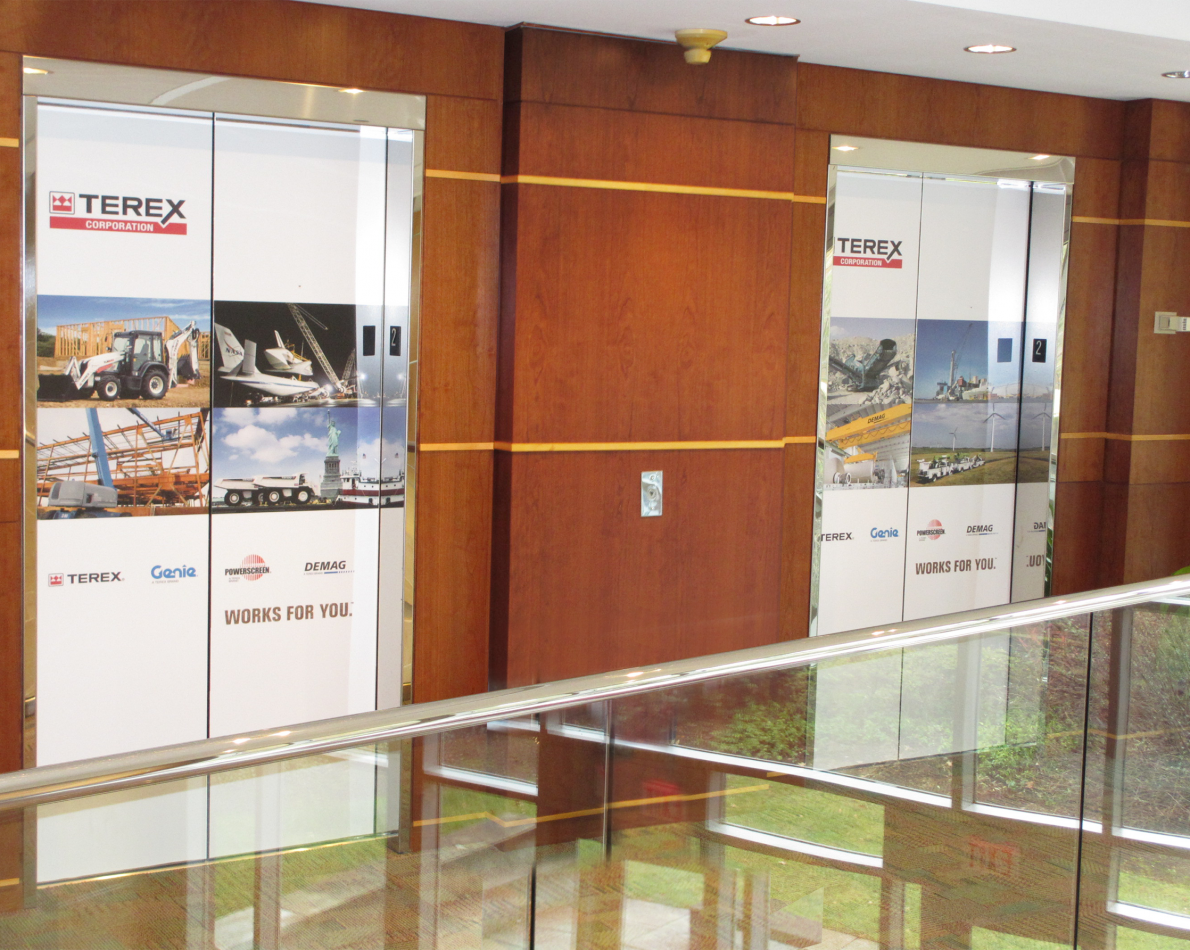Elevator graphics keep the consistent Terex messaging and visual vocabulary alive
