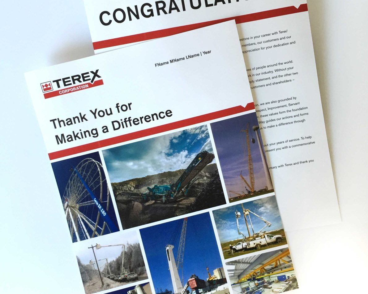 Employee recognition is important – we designed an internal award program for company milestones