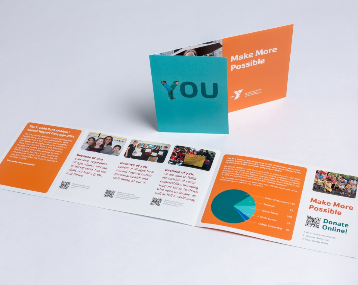 We designed a direct mail marketing campaign, as the YMCA relies heavily on donations from the local community to put its many program offerings into action. Attractive infographics show how donations are allocated and present all necessary information in an eye-catching, easy-to-read brochure.