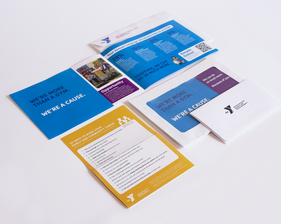 We wanted to demonstrate the YMCA's dedication to community challenges through the many classes and services they provide; this appeals collateral lays out their objectives in a colorful yet professional way.