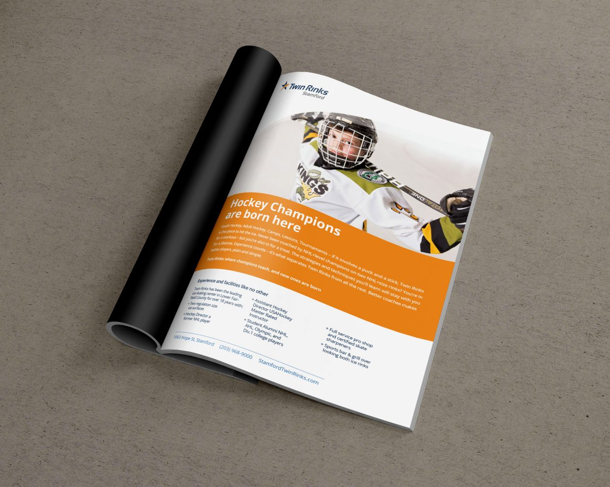 A print advertisement for Twin Rinks uses the new branding to tell a story across multiple mediums.
