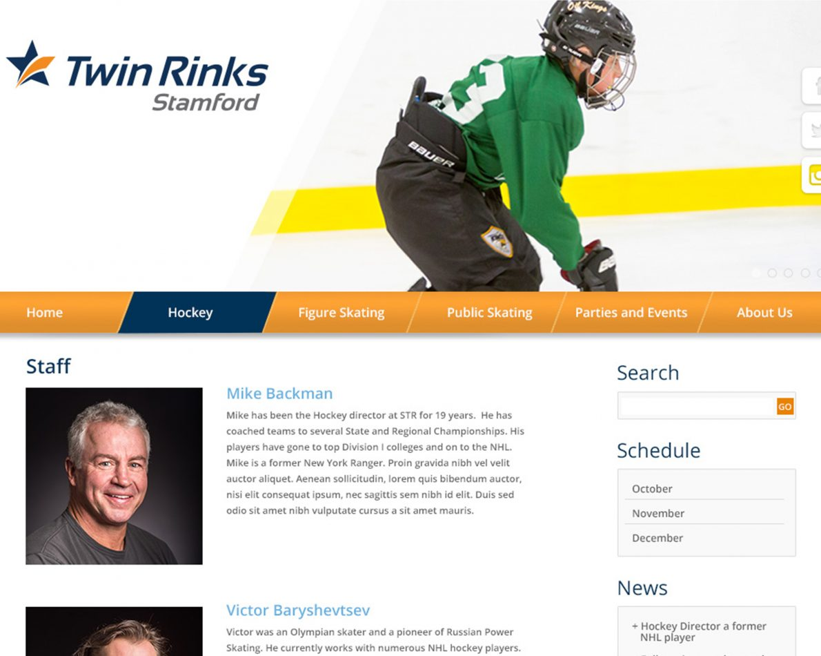 Stamford Twin Rinks' sub-page to showcase their extensive professional experience.