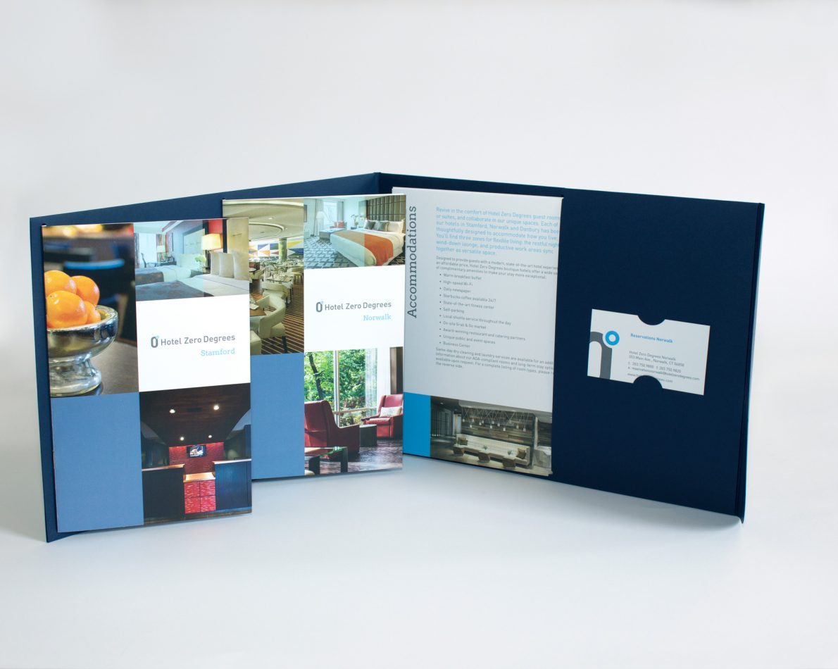 The enclosure has room for two brochures, sell sheets and business cards.